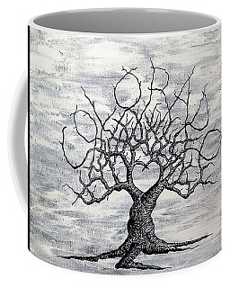 Coffee Mug featuring the drawing Colorado Love Tree Blk/wht by Aaron Bombalicki