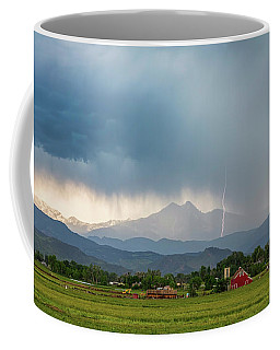 Coffee Mug featuring the photograph Colorado Rocky Mountain Red Barn Country Storm by James BO Insogna