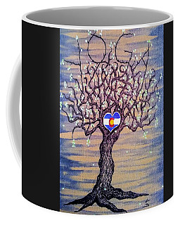 Coffee Mug featuring the drawing Colorado Yoga Love Tree by Aaron Bombalicki