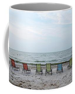 Colorful Beach Chairs Coffee Mug by Ann Bridges