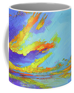 Coffee Mug featuring the painting Colorful Beach Sunset Oil Painting  by Patricia Awapara