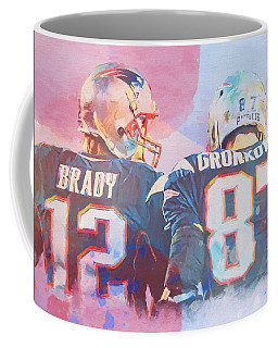 Coffee Mug featuring the painting Colorful Brady And Gronkowski by Dan Sproul