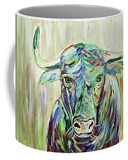 Coffee Mug featuring the painting Colorful Bull by Jeanne Forsythe