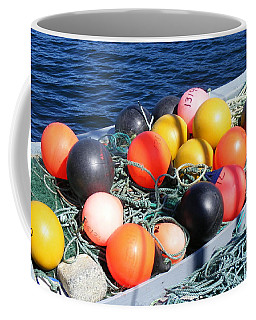 Coffee Mug featuring the photograph Colorful Buoys by Barbara Griffin