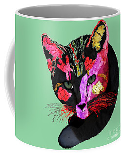 Colorful Cat Abstract Artwork By Claudia Ellis Coffee Mug