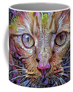 Colorful Cat Art Coffee Mug by Peggy Collins