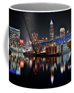Coffee Mug featuring the photograph Colorful Cleveland Flats by Frozen in Time Fine Art Photography