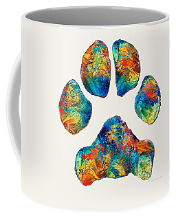 Colorful Dog Paw Print By Sharon Cummings Coffee Mug