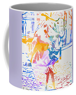 Coffee Mug featuring the painting Colorful Fearless Girl by Dan Sproul