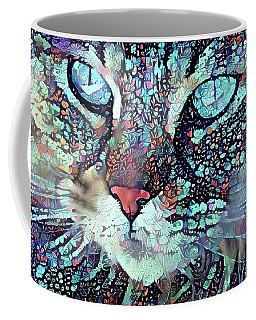 Colorful Flower Cat Art - A Cat Called Blue Coffee Mug