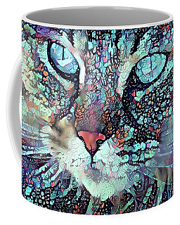 Colorful Flower Cat Art - A Cat Called Blue Coffee Mug