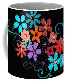 Colorful Flowers On Black Background Coffee Mug