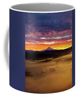 Colorful Foggy Sunrise Over Sandy River Valley Coffee Mug