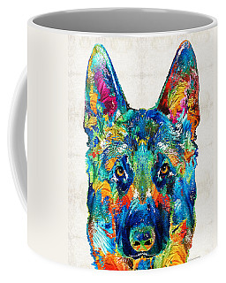 Colorful German Shepherd Dog Art By Sharon Cummings Coffee Mug