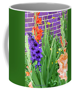 Coffee Mug featuring the pyrography Colorful Gladiolas by Elly Potamianos