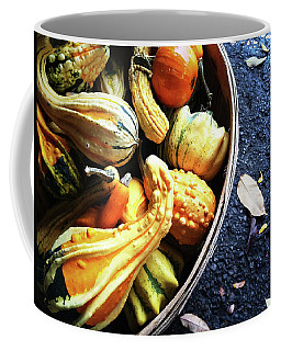 Colorful Gourds In A Basket Coffee Mug