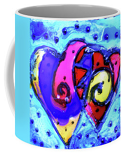 Coffee Mug featuring the painting Colorful Hearts Equals Crazy Hearts by Genevieve Esson