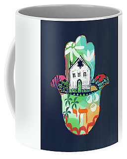 Coffee Mug featuring the mixed media Colorful Home Hamsa- Art By Linda Woods by Linda Woods