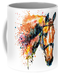 Coffee Mug featuring the mixed media Colorful Horse Head by Marian Voicu