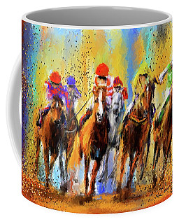 Colorful Horse Racing Impressionist Paintings Coffee Mug