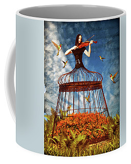 Colorful Hummingbird Song Coffee Mug by Mihaela Pater
