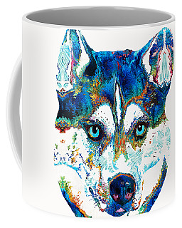 Colorful Husky Dog Art By Sharon Cummings Coffee Mug