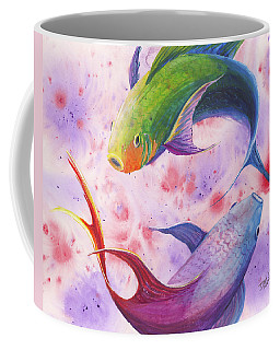 Coffee Mug featuring the painting Colorful Koi by Darice Machel McGuire
