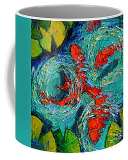 Colorful Koi Fishes In Lily Pond Coffee Mug