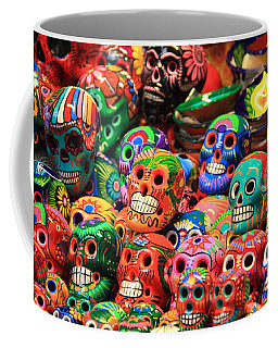 Colorful Mexican Day Of The Dean Ceramic Skulls Coffee Mug