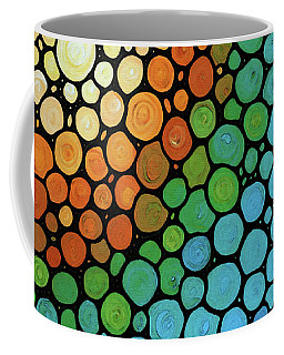 Coffee Mug featuring the painting Colorful Mosaic Art - Blissful by Sharon Cummings