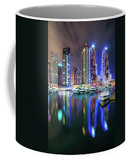 Colorful Night Dubai Marina Skyline, Dubai, United Arab Emirates Coffee Mug