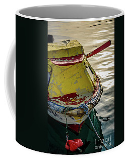 Colorful Old Red And Yellow Boat During Golden Hour In Croatia Coffee Mug