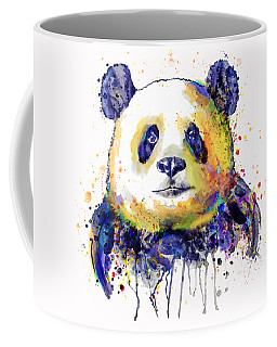Coffee Mug featuring the mixed media Colorful Panda Head by Marian Voicu