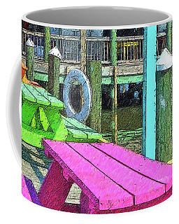 Colorful Picnic Tables Pass Christian Ms Marina Coffee Mug by Rebecca Korpita