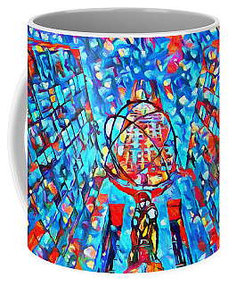 Coffee Mug featuring the painting Colorful Rockefeller Center Atlas by Dan Sproul
