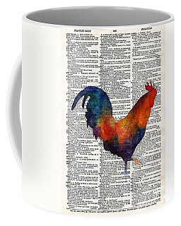 Colorful Rooster On Vintage Dictionary Coffee Mug