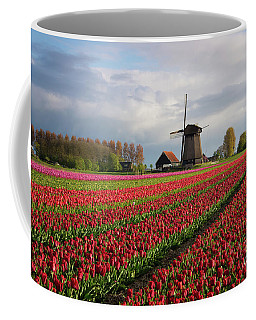 Colorful Rows Of Tulips In Front Of A Windmill Coffee Mug