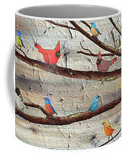 Colorful Rustic Birds Crackle Coffee Mug