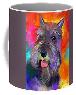 Colorful Schnauzer Dog Portrait Print Coffee Mug