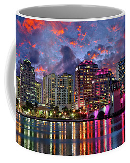 Colorful Sunset Over Downtown West Palm Beach Florida Coffee Mug