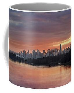 Colorful Sunset Over Vancouver Bc Downtown Skyline Coffee Mug