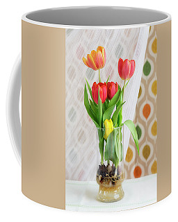 Colorful Tulips And Bulbs In Glass Vase Coffee Mug