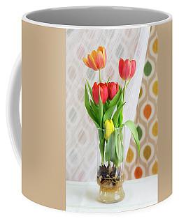 Colorful Tulips And Bulbs In Glass Vase Coffee Mug