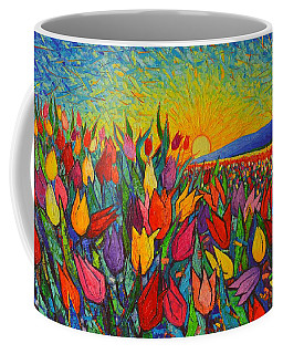 Colorful Tulips Field Sunrise - Abstract Impressionist Palette Knife Painting By Ana Maria Edulescu Coffee Mug