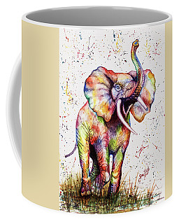 Coffee Mug featuring the painting Colorful Watercolor Elephant by Georgeta Blanaru