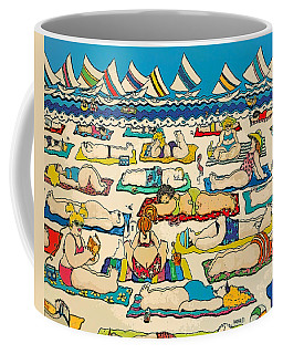 Colorful Whimsical Beach Seashore Women Men Coffee Mug