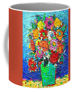 Colorful Wildflowers Abstract Modern Impressionist Palette Knife Oil Painting By Ana Maria Edulescu  Coffee Mug