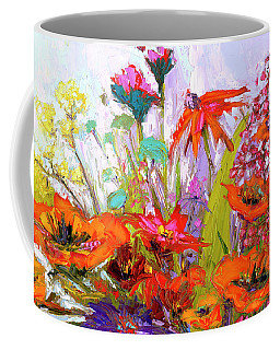 Coffee Mug featuring the painting Colorful Wildflowers Bunch, Oil Painting, Palette Knife by Patricia Awapara
