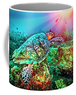 Coffee Mug featuring the photograph Colors Of The Sea In Lights by Debra and Dave Vanderlaan