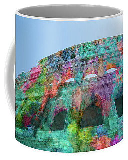 Coffee Mug featuring the mixed media Colourful Grungy Colosseum In Rome by Clare Bambers